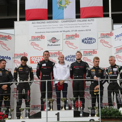 Podio GT3 gara 2 Baruch-Treluyer (Audi Sport Italia,Audi R8 LMS-GT3 #7), Zampieri-Altoè (Antonelli Motorsport,Lamborghini Huracan #63), Postiglione-Basz (Imperiale Racing,Lamborghini Huracan-GT3 #16)